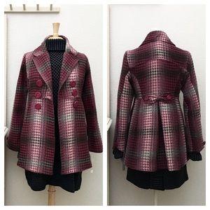 NWT, JOLT Tweed Magenta & Gray Wool Blend Coat, M